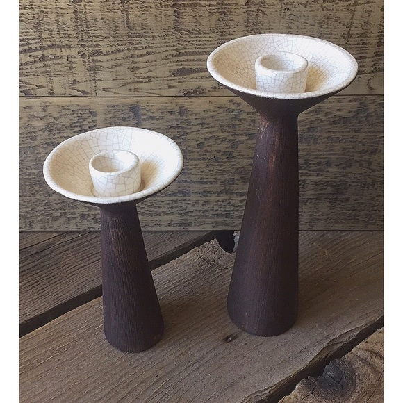 VTG MCM Brayton Laguna Pottery Candlestick Set